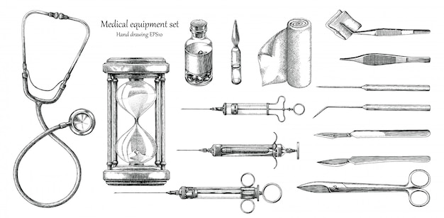 Sprzęt medyczny ustawić ręcznie rysunek styl vintage