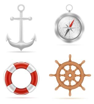 Sprzęt morski kotwica koło ratunkowe z kompasem na białym tle