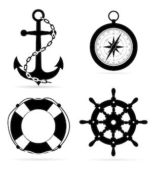 Sprzęt morski kotwica koło ratunkowe z kompasem steruje czarną sylwetką na białym tle