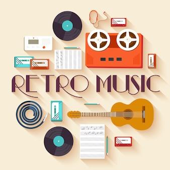 Sprzęt muzyczny retro zestaw koncepcja infografiki koło szablon.