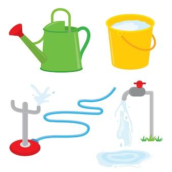 Sprzęt ogrodniczy podlewania może kran wody kropi wektor