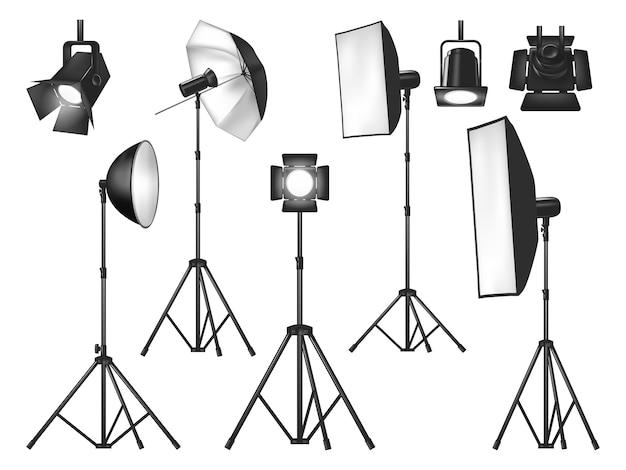 Sprzęt oświetleniowy studia fotograficznego i światła na białym tle obiektów wektorowych.