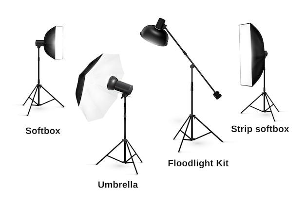 Sprzęt oświetleniowy studio na białym tle. reflektor i lampa, lampa błyskowa i profesjonalna technologia fotograficzna