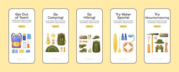 Sprzęt podróżny wprowadzający na pokład płaski szablon aplikacji mobilnej. kemping i turystyka. przejrzyj kroki witryny ze znakami. ux, ui, interfejs graficzny do smartfona gui, zestaw odbitek na obudowie