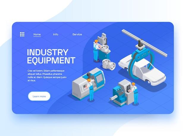 Sprzęt przemysłowy ustawia izometryczną stronę docelową witryny internetowej z klikalnymi linkami, edytowalnymi przyciskami tekstowymi i ilustracją maszyn