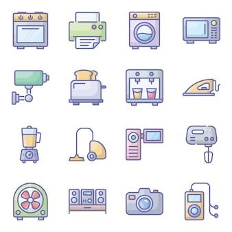 Sprzęt sprzęt płaski zestaw ikon