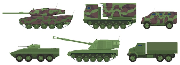 Sprzęt wojskowy, czołgi, artyleria, ciężarówki, transportery opancerzone