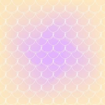 Squama na modnym tle gradientowym. kwadratowe tło z ornamentem squama. jasne przejścia kolorów. transparent ogon syreny i zaproszenie. podwodny i morski wzór. ciepłe, brzoskwiniowe kolory.