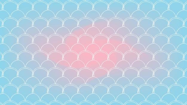 Squama na modnym tle gradientowym. poziome tło z ornamentem squama. jasne przejścia kolorów. transparent ogon syreny i zaproszenie. podwodny wzór morza. kolory niebieski, różowy, różowy.
