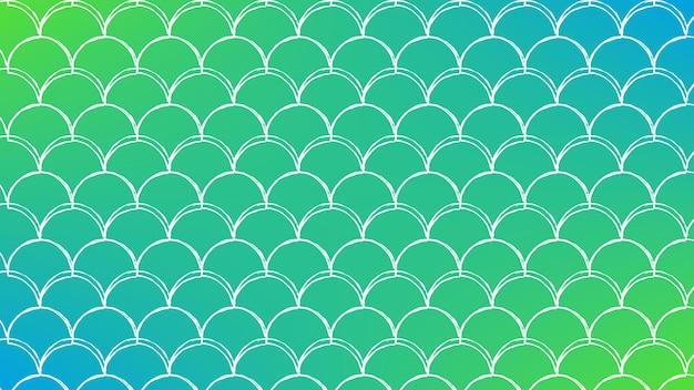 Squama na modnym tle gradientowym. poziome tło z ornamentem squama. jasne przejścia kolorów. transparent ogon syreny i zaproszenie. podwodny wzór morza. kolory zielony i niebieski.