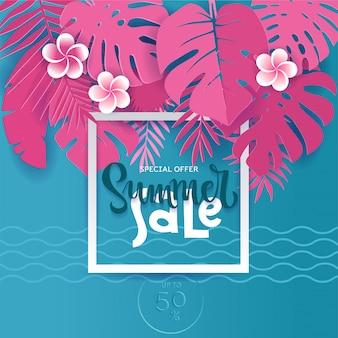 Square monstera tropical summer palm pozostawia w stylu wyciętym z papieru. biała ramka 3d litery wyprzedaż lato ukryta w egzotycznych niebieskich liściach na różowo w celach reklamowych. ilustracja karty.
