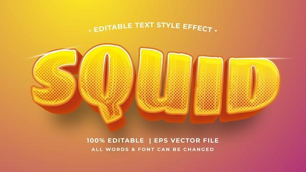Squid nowoczesny błyszczący pomarańczowy tekst 3d efekt stylu. edytowalny styl tekstu programu illustrator.