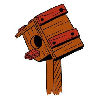 Squorer dla ptaków. dom dla ptaków. drewniany dom. styl kreskówki. ilustracje do projektowania i dekoracji.