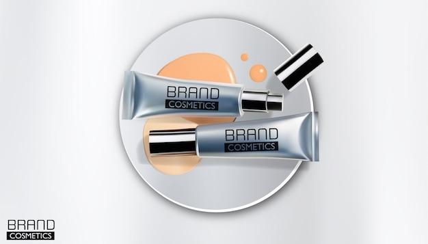 Srebna kosmetyczna butelka pakuje szablon, realistyczny projekt, wektorowa ilustracja