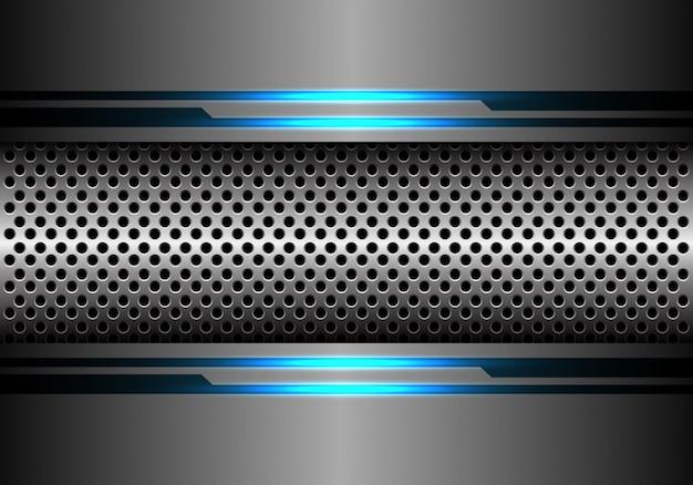 Srebna okrąg siatka w popielatym metalu błękita światła energii tle.