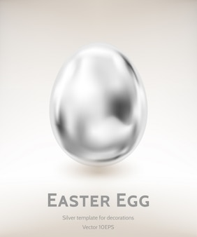 Srebny wielkanocnego jajka wektorowy szablon gradientową siatką