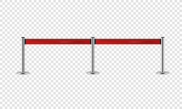 Srebrna barierka z czerwoną wstążką do prezentacji vip.