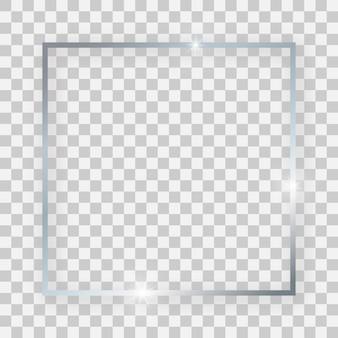Srebrna błyszcząca ramka kwadratowa ze świecącymi efektami i cieniami na przezroczystym tle. ilustracja wektorowa