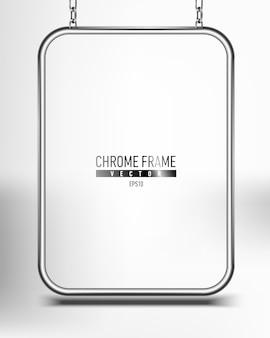 Srebrna chromowana rama na baner. panel powierzchni reklamowej na tekst wiszący na łańcuchach