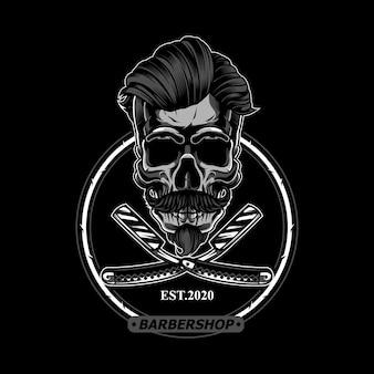Srebrna czaszka na logo fryzjera