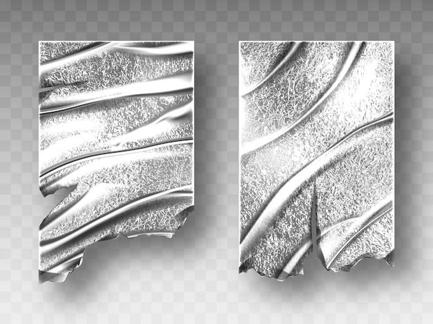 Srebrna folia, zmięta tekstura z postrzępionym brzegiem