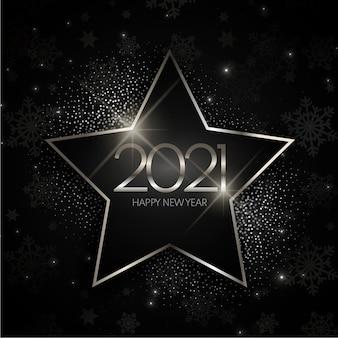 Srebrna gwiazda nowy rok 2021 tło