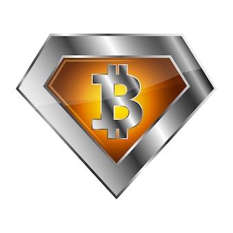 Srebrna ikona ilustracja bitcoin