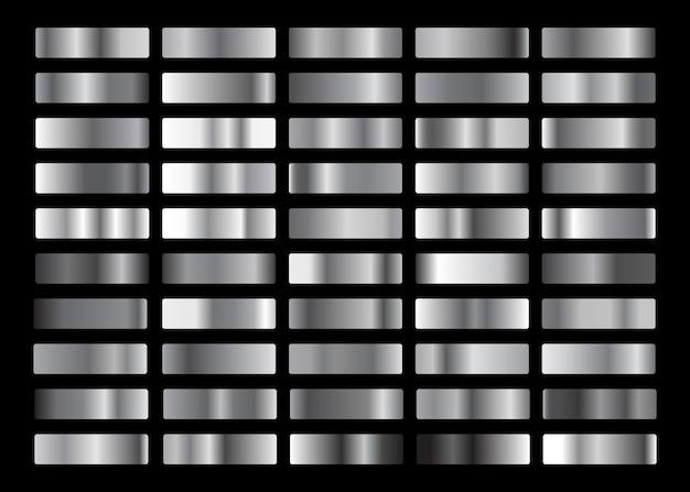 Srebrna kolekcja gradientowa, zestaw tekstur.
