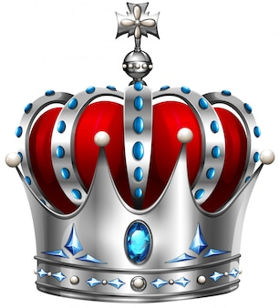 Srebrna korona na białym