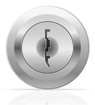 Srebrna metalowa dziurka od klucza.