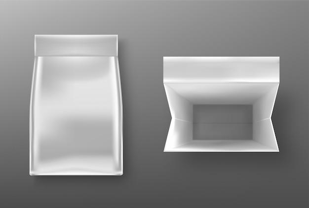 Srebrna paczka doy, torebka papierowa lub foliowa torba