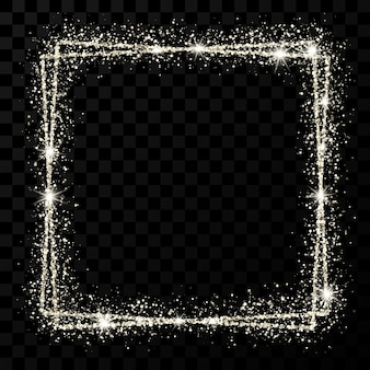 Srebrna podwójna kwadratowa ramka. nowoczesna błyszcząca rama z efektami świetlnymi na białym tle na ciemnym przezroczystym tle. ilustracja wektorowa.