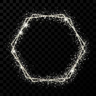 Srebrna rama z podwójnym sześciokątem. nowoczesna błyszcząca rama z efektami świetlnymi na białym tle na ciemnym przezroczystym tle. ilustracja wektorowa.