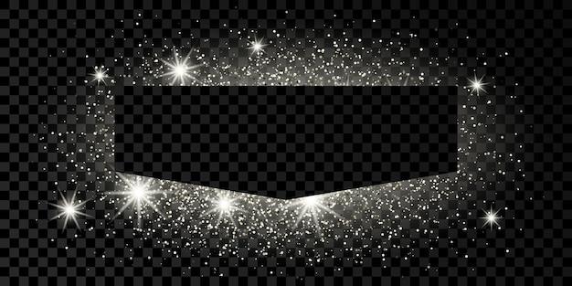 Srebrna ramka z brokatem, błyszczy i flary na ciemnym przezroczystym tle. puste luksusowe tło. ilustracja wektorowa.