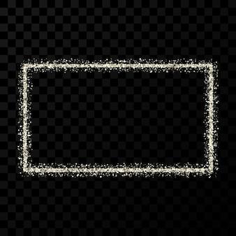 Srebrna ramka z brokatem. pionowa ramka prostokątna z błyszczącymi iskierkami na ciemnym przezroczystym tle. ilustracja wektorowa