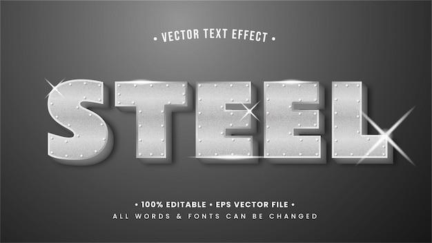 Srebrna stal błyszczący efekt stylu tekstu 3d. edytowalny styl tekstu programu illustrator.
