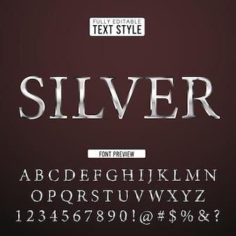 Srebrna stalowa średniowieczna klasyczna fantasy 3d zestaw czcionek tekstowych alfabet efekt kolekcji