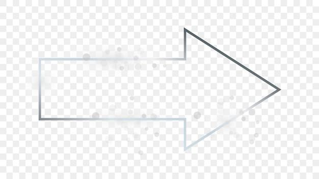 Srebrna świecąca rama kształt strzałki z błyszczy na przezroczystym tle. błyszcząca ramka ze świecącymi efektami. ilustracja wektorowa