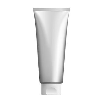 Srebrna tubka kosmetyczna. opakowanie kremowe bb