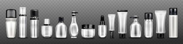 Srebrne butelki kosmetyczne, słoiki i tubki na krem, spray, balsam i kosmetyki.