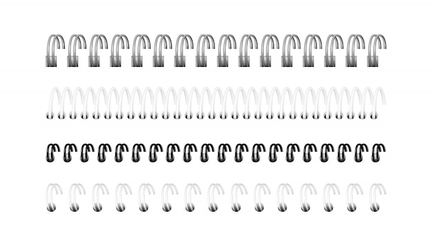 Srebrne, czarne i białe spirale do notebooka