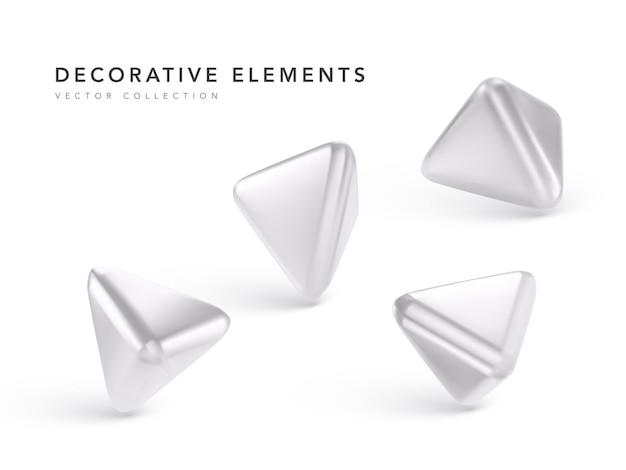 Srebrne geometryczne obiekty 3d na białym tle