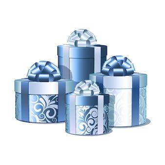 Srebrne i niebieskie pudełka na prezenty. ilustracja