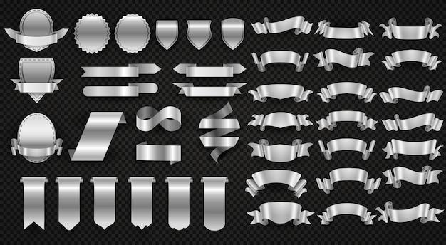 Srebrne i stalowe wstążki, zestaw metalowych banerów do zawijania