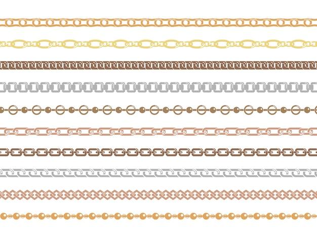 Srebrne i złote łańcuchy pionowe i poziome o różnych kształtach i grubościach. zestaw kolorowych łańcuchów na białym tle.