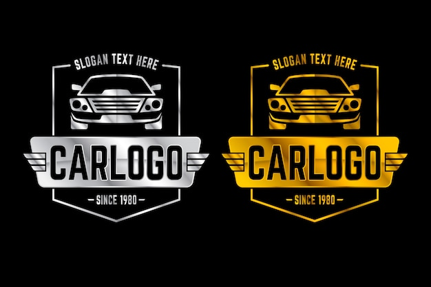 Srebrne i złote metaliczne logo samochodu