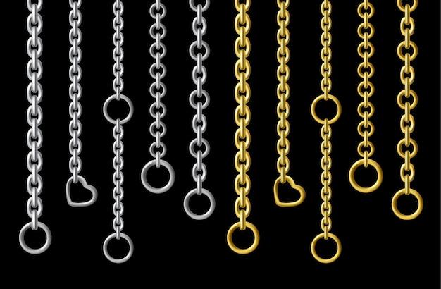 Srebrne i złote metalowe łańcuszki w realistycznym stylu