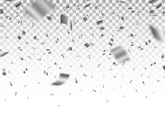 Srebrne konfetti na przezroczystym tle. luksusowy jasny blichtr. świąteczne elementy dekoracji. realistyczna spadająca serpentyna. szablon rocznicy. ilustracja.