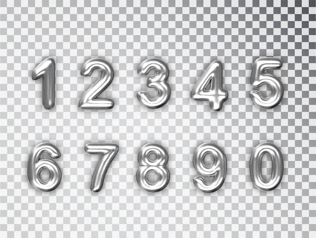 Srebrne liczby ustawione na białym tle. realistyczne srebrne błyszczące liczby 3d z cieniem.