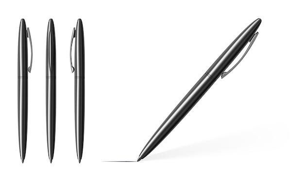Srebrne metalowe długopisy